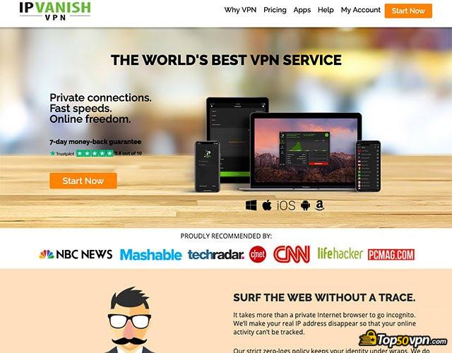IPVanish review: IPVanish home page.