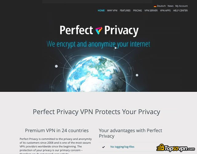 Perfect Privacy VPN review: Perfect Privacy home page.