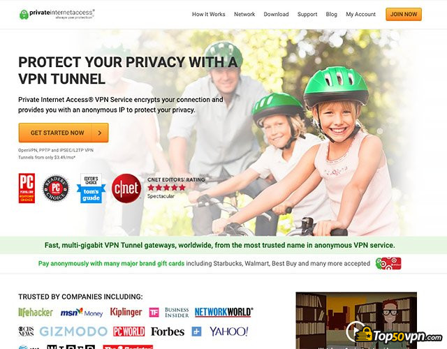 Private Internet Access: Private Internet Access home page.