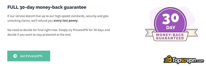 PrivateVPN review: money-back guarantee.