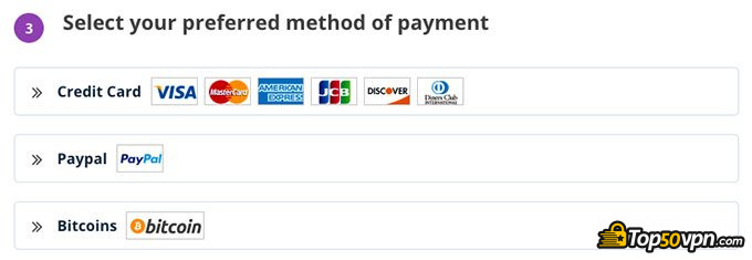 PrivateVPN review: payment methods.