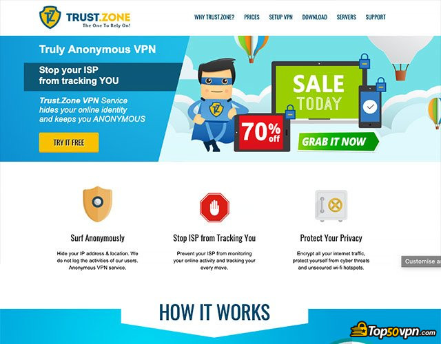 Trust.Zone review: Trust.Zone home page.