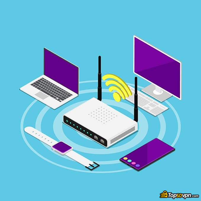 VPN routers: a router providing a stable internet connection to surrounding devices.